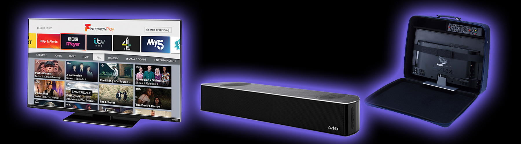 Avtex TVs with Free Case and Discount Sound Bar Offer
