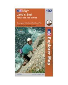 OS Explorer Map 102 - Lands End Penzance & St Ives