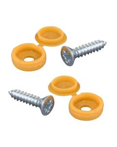 Number Plate Screws And Yellow Caps - Pair