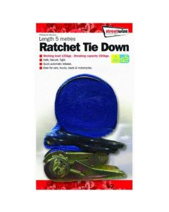 Ratchet Tie-down Strap With Coated Hooks - 4.5 Metres