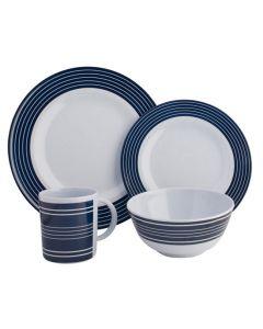 Melamine Dinner Set Navy Pinstripe - 16 Piece