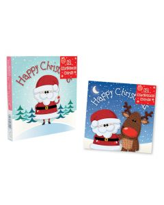 Cute Reindeer Design Square Christmas Cards - Pack of 12
