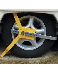 Lightweight easy portable wheelclamp for cars and caravans