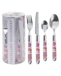 Flower Print Cutlery Set - 16 Piece