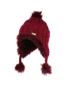 Regatta Kids' Cassiana Fur Lined Chullo Hat - Beetroot