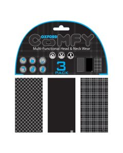Oxford Comfy Buff Scarf Face Mask 3-Pack - Black & White Tartan