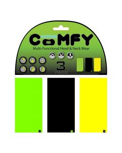 Oxford Comfy Buff Scarf Face Mask 3-Pack - Green/Black/Yellow