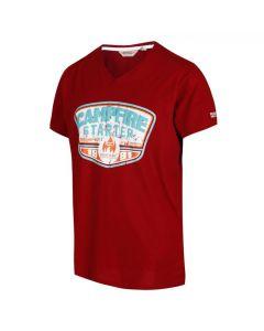 Regatta Men's Calton Graphic Print V-Neck T-Shirt - Delhi Red