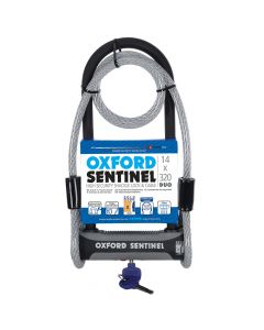 Oxford Sentinel 14 Duo Shackle Lock with Security Cable - Sold Secure
