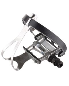 Retro Style Alloy Road Bike Pedals - Steel Toeclips