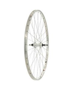 Rear 700C Hybrid Alloy Bike Wheel - Single Wall Screw-On Nutted Spindle