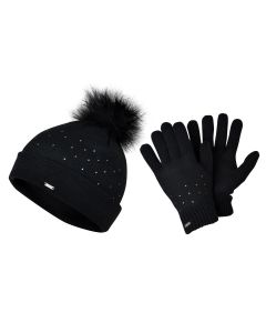Dare2Be Bejewel Swarovski Crystal Embellished Women's Hat & Gloves Set