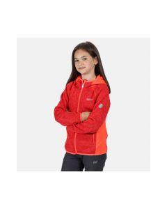 Regatta Dissolver Girl's Fleece Hoodie in Fiery Coral Red