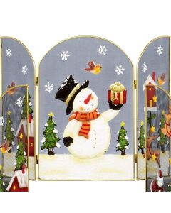 Premier Decorations 49 cm Fireguard With Snowman
