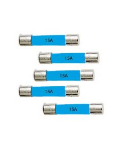 15 Amp Car Fuses - Glass - Pack Of 5