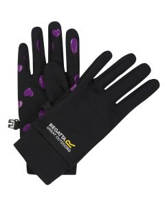 Regatta Kids Grippy Gloves - Black Viola