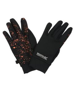 Regatta Kids' Grippy Gloves - Black Fiery Coral