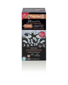 24 Multi Action Battery Bright White LED Christmas Lights - 2.3 Metre