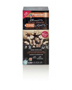 24 Multi Action Battery Warm White LED Christmas Lights - 2.3 Metre