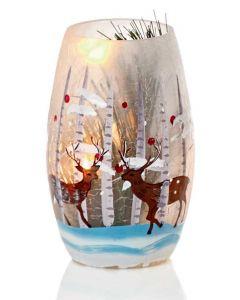 Illuminated Christmas Vase 13cm - Reindeer Design