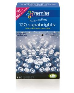 120 Multi-Action Bright White LED Christmas Lights 20 Metres - Mains