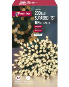 Premier Decorations 200 Supabrights LED Lights with Timer - Warm White