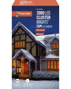 Premier Decorations 2000 LED Cluster Lights with Timer - Multi Colour
