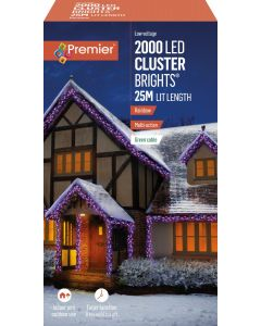 Premier Decorations 2000 LED Cluster Lights with Timer - Rainbow