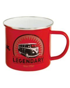 VW Retro Enamel Mug (Vintage Logo/Red)