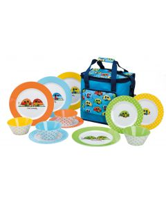 Love Caravanning Melamine Tableware Set with Cooler Bag - Camping Plates