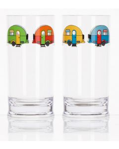 Love Caravanning tall acrylic glasses for campervan and camping picnics.