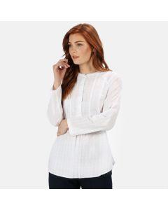 Regatta Women's Maladee Long Sleeve Belted Shirt - White Dobby