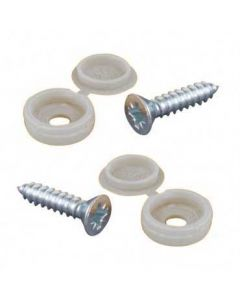 Number Plate Screws And White Caps - Pair