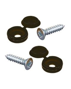Number Plate Screws And Black Caps - Pair