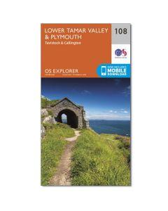 OS Explorer Map 108 - Lower Tamar Valley & Plymouth Tavistock & Callington