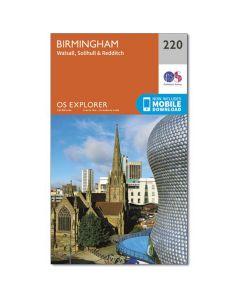 OS Explorer Map 220 - Birmingham Walsall Solihull & Redditch