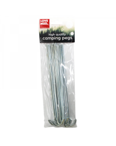 Love Mud 24cm Steel Tent Ground Pegs - PK10