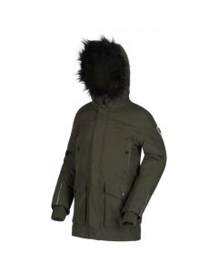 Regatta Kids' Proktor Waterproof Insulated Fur Trimmed Parka Jacket - Dark Khaki
