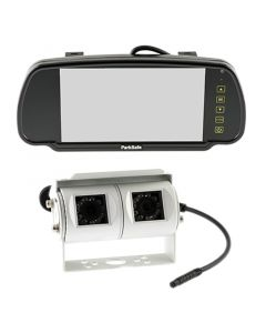 """Parksafe 7"""" Clip On Mirror Monitor With White Bar Camera Fitted"""