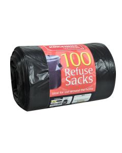 100 Pack of Quality Black 70L Refuse Sacks