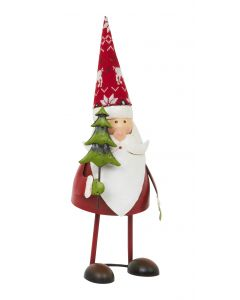Bouncing Santa Claus With Tree - 35cm Metal Spring Christmas Figurine