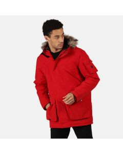 Regatta Men's Salinger II Waterproof Insulated Fur Trimmed Hooded Parka Jacket Classic Red