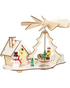 Christmas Tealight Pyramid Smokehouse Incense Burner - Snowman