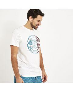 Weird Fish Summer Surf Branded Print T-Shirt - Dusty White Marl