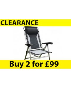 Seville Padded Reclining Chair-Black/Silver