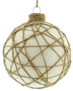 Festive White/Twine Christmas Bauble - 80mm