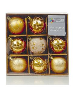Shatterproof Gold Christmas Baubles 60mm - Pack of 9