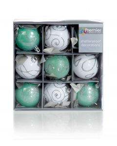 Shatterproof Green/White Christmas Baubles 60mm - Pack of 9