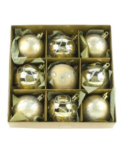 Set of 9 Champagne Gold Tree Decorations