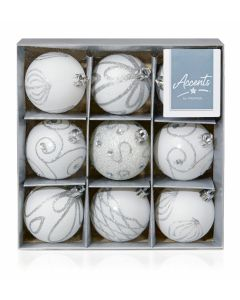 9 x 60mm White Decorated Baubles